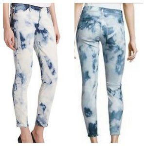 The Kooples Short Fit Cut Tie Dye Stretch Jeans